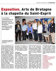 article du Télégramme à l'issue du vernissage de l'exposition du Collectif Arts de Bretagne à la chapelle du Saint Esprit à Auray