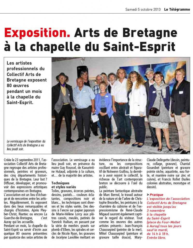 article du Télégramme à l'issue du vernissage de l'exposition du Collectif Arts de Bretagne à la chapelle du Saint Esprit à Auray