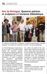 Exposition du Collectif Arts de Bretagne à Lannion dans l'ancienne bibliothèque des Ursulines ; été 2014.
