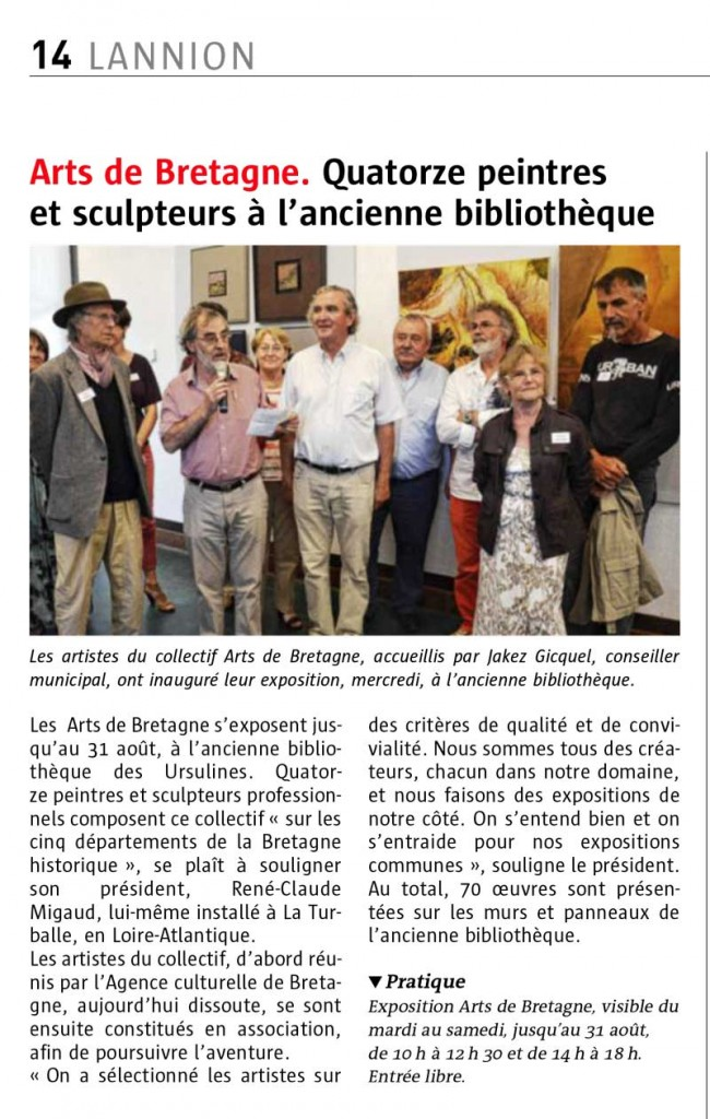 exposition du Collectif Arts de Bretagne à Lannion été 2014