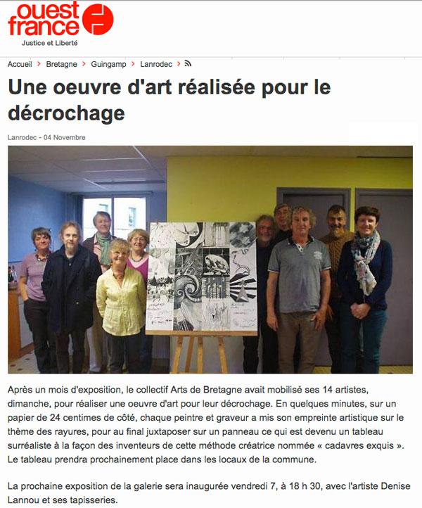 """Exposition du Collectif Arts de Bretagne à Lanrodec. Le décrochage a donné lieu à une oeuvre collective : """"les cadavres exquis""""."""