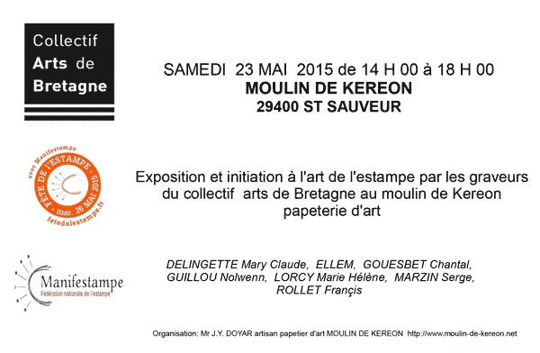 exposition et démonstration de gravure au Moulin de Kéréon à St Sauveur le 23 mai de 14h à 18h