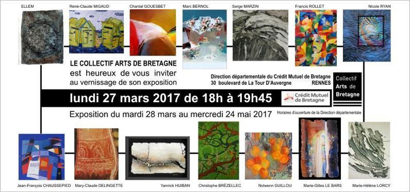 Le collectif Arts de Bretagne expose au siège du Crédit Mutuel de Bretagne à Rennes.