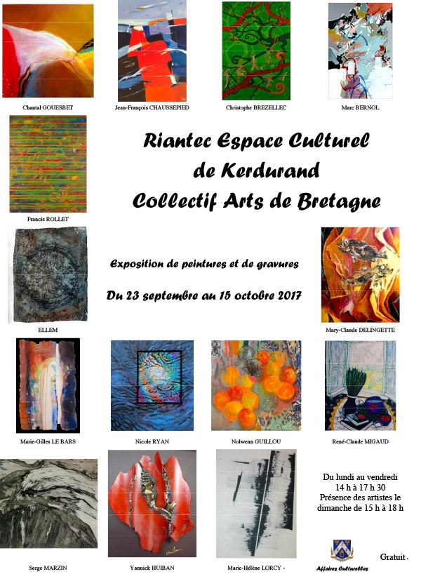 Le Collectif Arts de Bretagne expose en Morbihan au Château de Kerdurand à Riantec du 23 septembre au 15 octobre 2017.