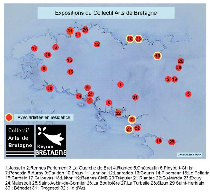 Carte des expositions du Collectif Arts de Bretagne